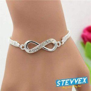 Rhinestone Alloy Metal Infinity Connector Bracelet